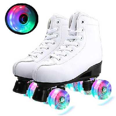 Klzzuk Patins à roulettes Blancs pour Femmes et Hommes, Roller Chaussure Quad Classiques avec Roues LED Allumées en PU pour Débutants en Extérieur en Intérieur, Adolescents Adultes (EU40.5/ UK7)