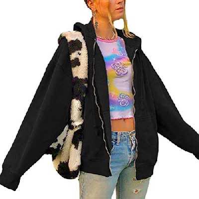 Geagodelia Veste à Capuche Femme Hoodie Sweat de Sport Oversize Vintage Zippé Blouson Couleur Solide Cardigan Pullover Outwear Y2K E-Girl Survêtement Jacket Printemps Automne (Noir, M)