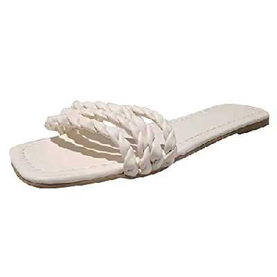 Femme Sandales Flip Tops pour Femmes, Dames Sandales D'été Casual Chaussures Plates Plate-Forme Talon Plat Espadrilles Élégantes Sandales Romaines Mules Peep Toe Pantoufles Bohême (D, numeric40)