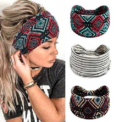 Yean Bandeaux Plaid Head Wraps Blanc Élastique Yoga Cheveux Bandes Foulards Vintage pour Femmes et Filles (Pack de 3)