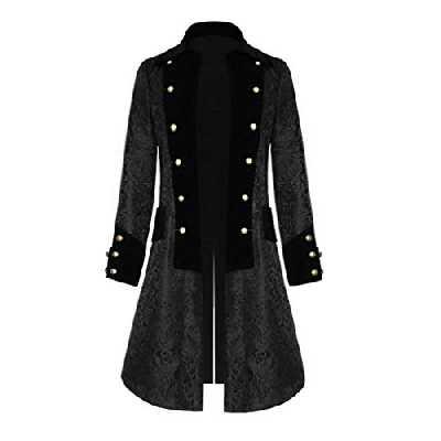 Punk Vêtements Homme Veste Gothique Manteau Moyen-Âge Vintage Manches Longues Boutons Smoking Manteau Cosplay Costume Uniforme Robe Victorian Uniforme, Noir , 4X-Large