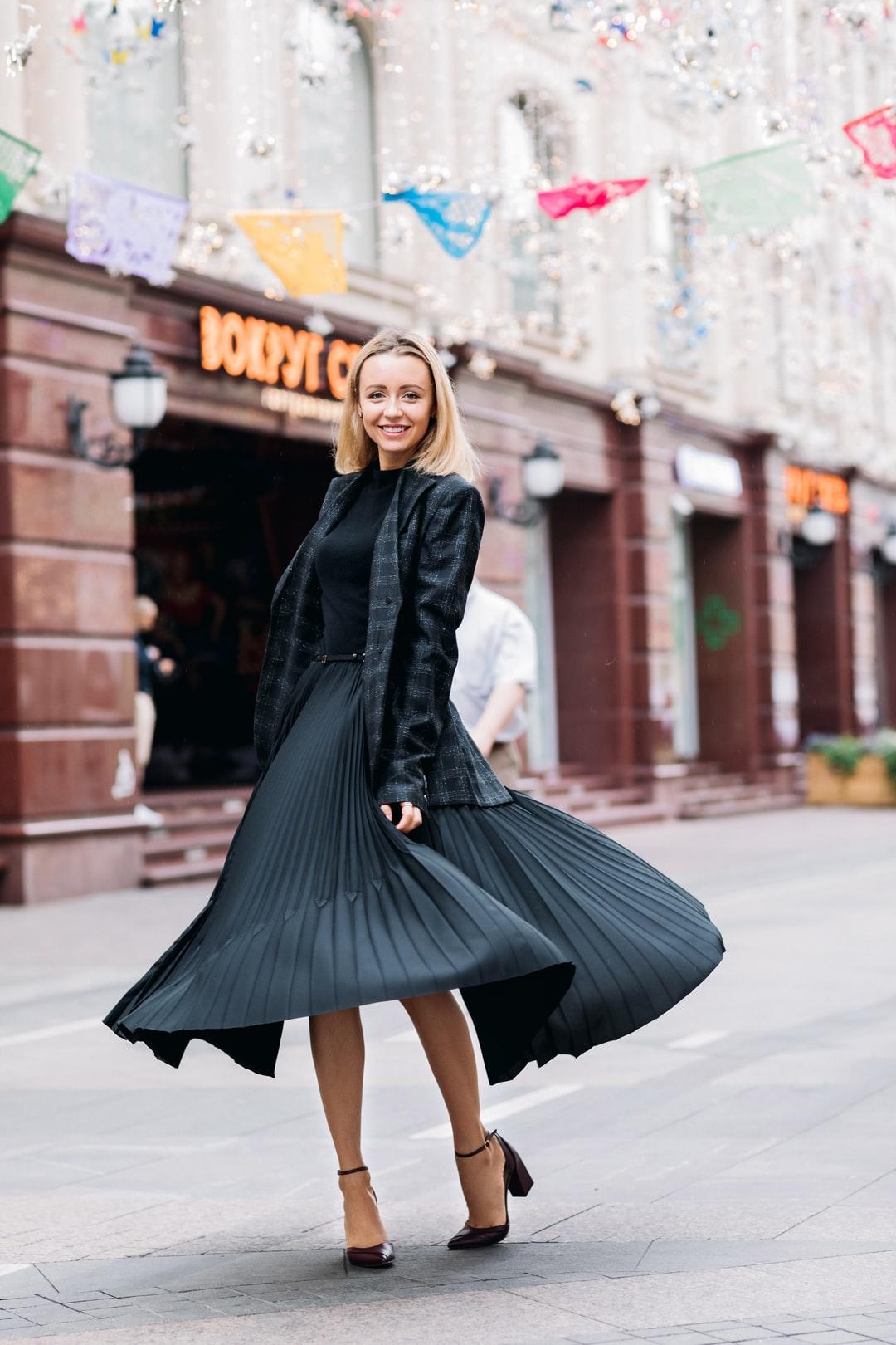jupe plissée + blazer