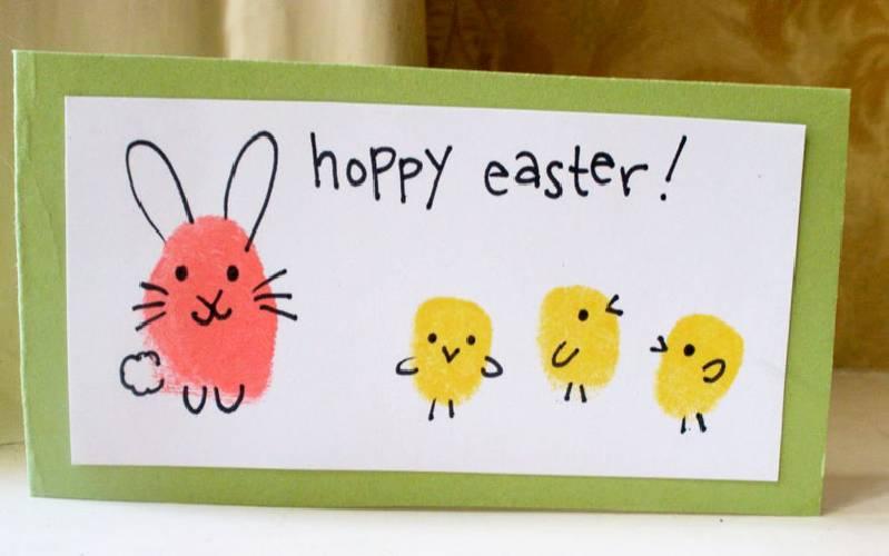 Idée de bricolage de Pâques à base d'empreintes digitales